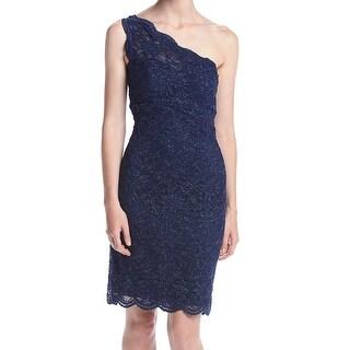 Morgan & Co NEW Blue Size 3/4 Junior One Shoulder Shimmer Sheath Dress