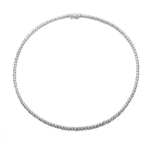 Rhodium Plated Sterling Silver 2 mm Round-cut Cubic Zirocnia Tennis Necklace