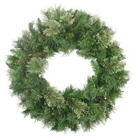 """24"""" Pre-Lit Mixed Cashmere Pine Artificial Christmas Wreath - Multi-Color Lights - Green"""