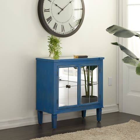 Blue Wood Farmhouse Cabinet 33 x 32 x 16 - 32 x 16 x 33