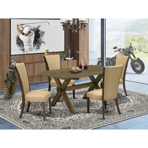 East West Furniture - Dining Table set Contains a Kitchen Table and Parsons Dining Chairs with Linen Fabric