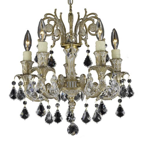American Brass & Crystal Five Light Chandelier Fisterra Antique White - One Size