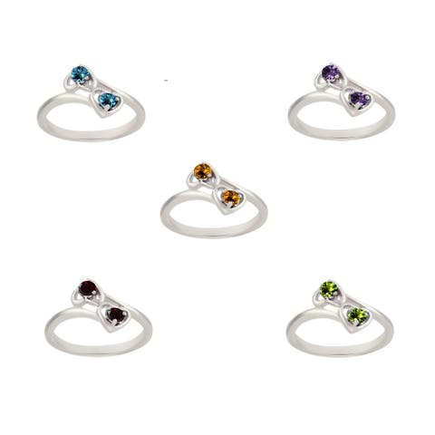 ColorStar Sterling Silver Round Gemstone Double Heart Ring