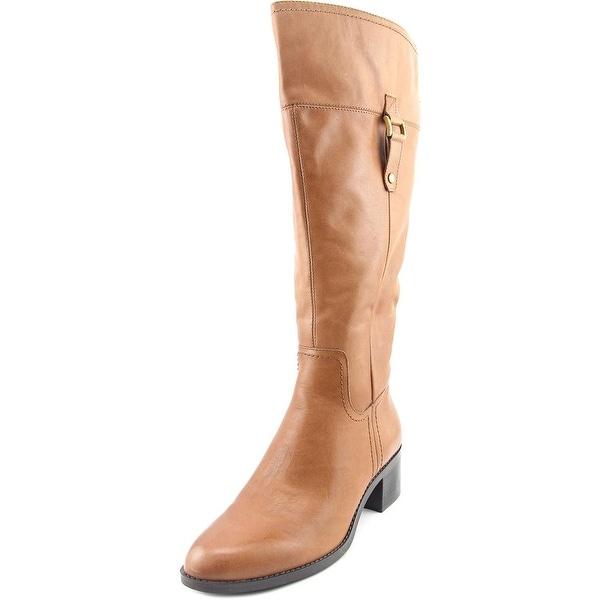 Franco Sarto Lizbeth Wide Calf Women  Round Toe Leather Brown Knee High Boot