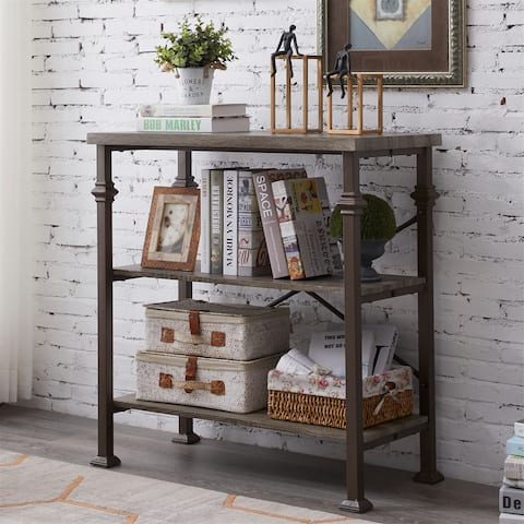 35-in Grey Industrial 3-Tier Bookshelves