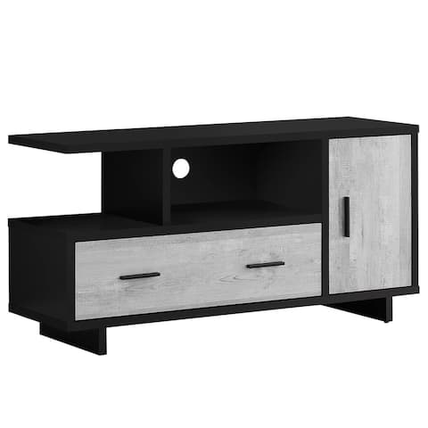 """Offex 48""""L Contemporary Grey Reclaimed Wood - Look TV Stand, Black - 47.25""""x 15.5""""x 23.75"""" - 47.25""""x 15.5""""x 23.75"""""""