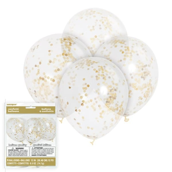 """12"""" Clear Balloons With Gold Confetti"""