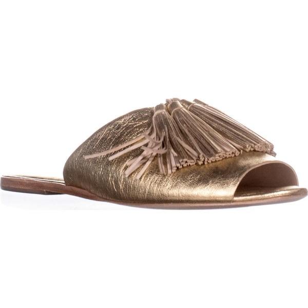 Loeffler Randall Kiki Flat Slide Sandals, Gold/Gold - 10 us