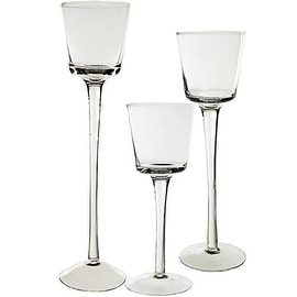 """CYS® Stemmed Candle Holder Set of 3 pcs (H-8"""", 10"""", 12"""") Open D-3"""", Cup H-2.75"""""""