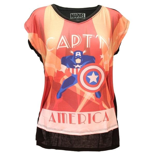 Her Universe Womens Marvel Captain America Deco Vera Neck Tee