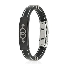 Double Male Symbol ID Plate Stitch Accent Rubber Stainless Steel Bracelet (10 mm) - 7.25 in