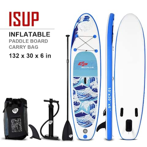 10' Inflatable Stand up Paddle Surfboard with Bag - Blue