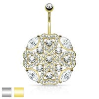 Micro Pave CZ Tribal Heart Shield with Round and Marquise CZ Accents - 14GA (Sold Ind.)