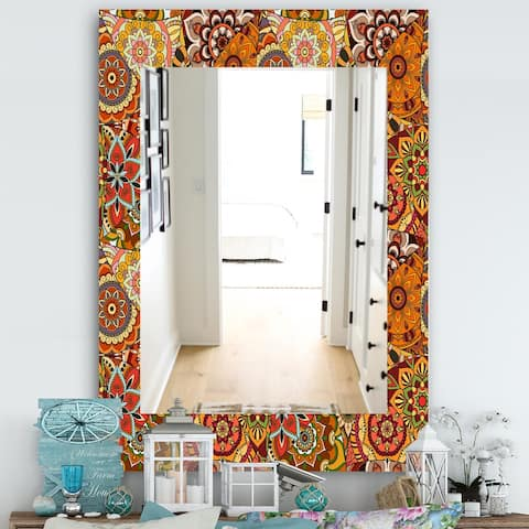 Designart 'Pattern Tile With Mandalas' Bohemian and Eclectic Mirror - Modern Wall Mirror