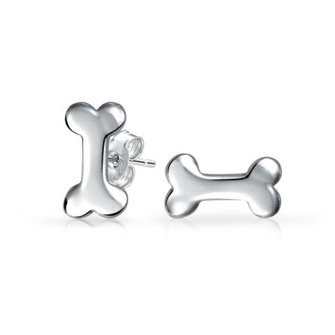 Pet Puppy Animal Lover Dog Bone Stud Earrings 925 Sterling Silver