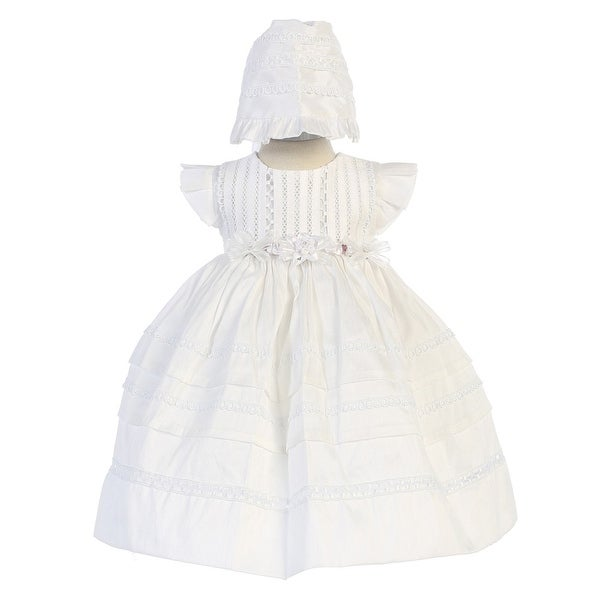 Angels Garment Little Girls White Removable Florals Bonnet Baptism Gown