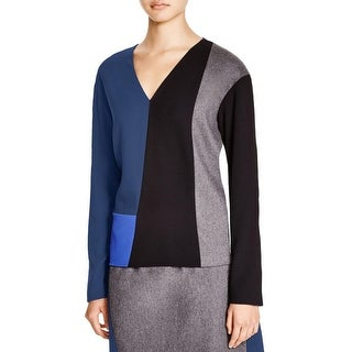 DKNY Womens Pullover Top Mixed Media Colorblock