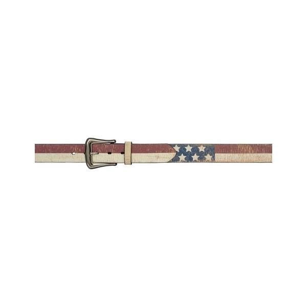 3D Belt Mens Western Leather Distressed Flag Vintage Red White