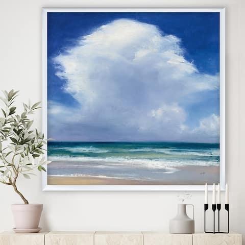 Designart 'Beach Clouds II' Coastal Landscape Framed Art Print