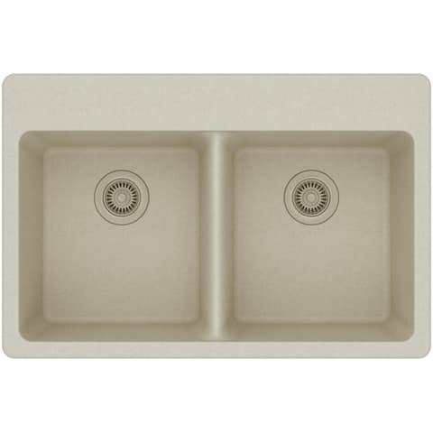 "Elkay ELG3322 Gourmet 33"" Double Basin Granite Composite Kitchen Sink for Drop In Installations with 50/50 Split and 5"