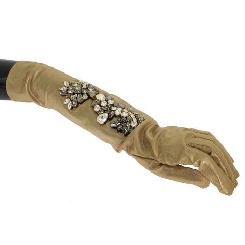 Dolce & Gabbana Gold Floral Crystal Elbow Long Women's Gloves