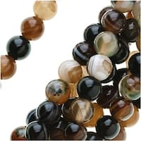 Brown Agate Gemstone Mix 4mm Round Beads (14.5 Inch Strand)