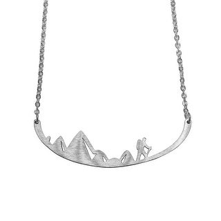 Studio Feifish Women's Mountain Hiker Bar Necklace - Stainless Steel Pendant
