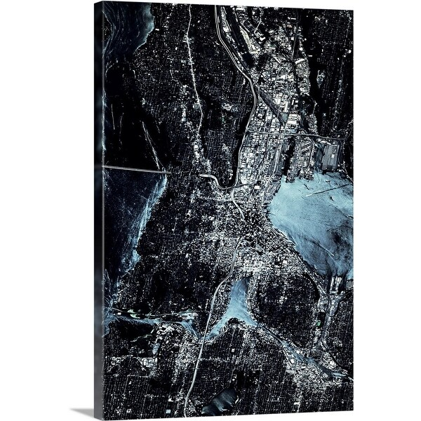 """Satellite view of Seattle, Washington State"" Canvas Wall Art"