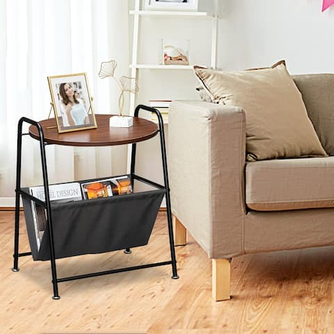 Two-Layer Iron Side Table End Table with Waterproof Cloth Book Bag