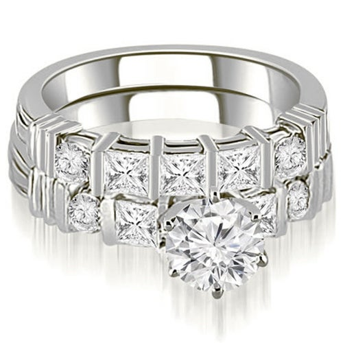 1.99 cttw. 14K White Gold Princess And Round Cut Diamond Bridal Set