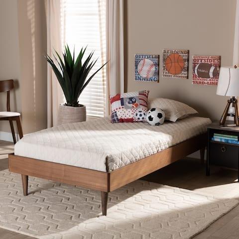 Rina Modern Ash Walnut Finished Wood Twin Size Platform Bed Frame