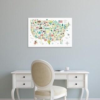 Easy Art Prints Michael Mullan's 'Illustrated USA' Premium Canvas Art