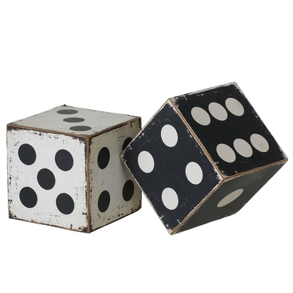 Set of 4 Black and White Rustic Finished Small Dice Tabletop Decor 4""