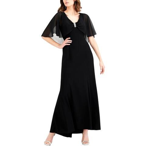 R & M Richards Womens Evening Dress Embellished Capelet - Black - 14