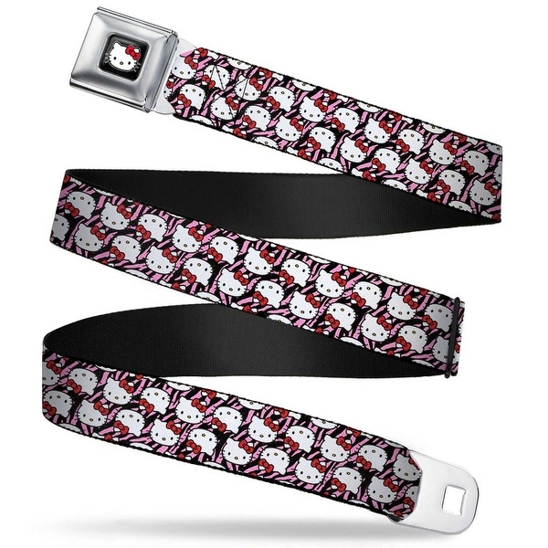 Hello Kitty W Red Bow Full Color Black Hello Kitty Flip Faces Zebra Black Seatbelt Belt