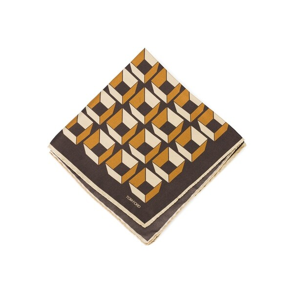 Tom Ford Men's Brown Gold Geometric Pocket Square - One size