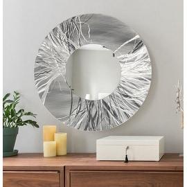 Statements2000 Silver Metal Decorative Wall-Mounted Mirror by Jon Allen - Mirror 104
