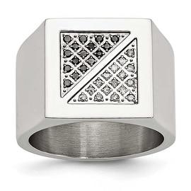 Stainless Steel Black & White Diamond Ring (15 mm)