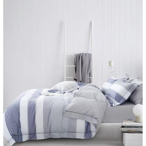 Wilhelm 100% Cotton Reversible Comforter Set Blue
