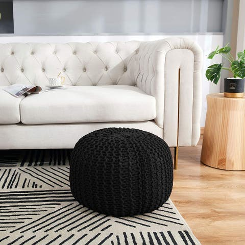 Cheer Collection Decorative 18-inch Chunky Hand-knit Round Pouf