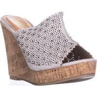 callisto Lovie Embellished Platform Wedge Sandals, Grey
