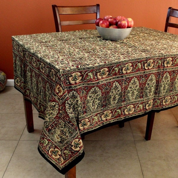 Hand Block Print Kalamkari Floral Tablecloth For Square Tables Cotton Red  Green   78 X 78