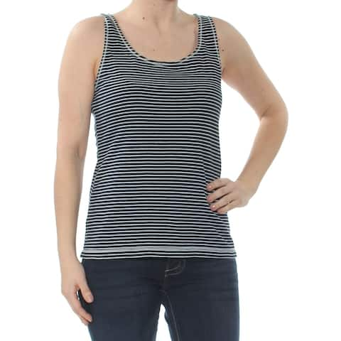 MAX STUDIO Womens Navy Tank Striped Sleeveless Scoop Neck Top Size S