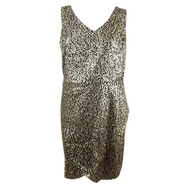 City Chic Women\'s Plus Size Sequined Faux-Wrap Dress (XL/22W, Gold) - Gold  - XL/22W