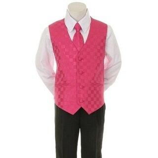 Kids Dream Fuchsia Checkered Vest Tie Special Occasion Boys Suit 1-4T