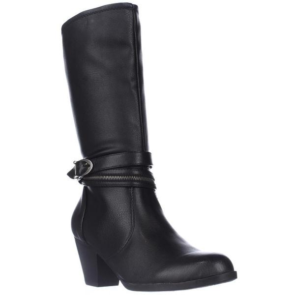 BareTraps Abilene Zipper Strap Mid-Calf Western Boots, Black