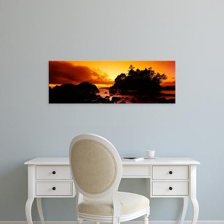 Easy Art Prints Panoramic Image 'Rocks at sunset, Tofino, Vancouver Island, British Columbia, Canada' Canvas Art