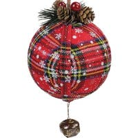 "7.5"" Red Plaid Christmas Ball Ornament with Rustic Bell"