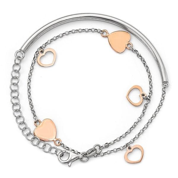 Italian Sterling Silver Rose Gold-plated Hearts with 2in ext. Wrap Bracelet - 13 inches