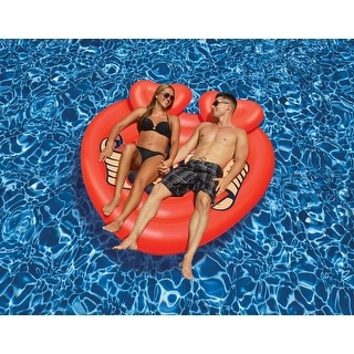"63"" Heart Shaped Tattoo Island Novelty Swimming Pool Inflatable Floating Raft - Red"